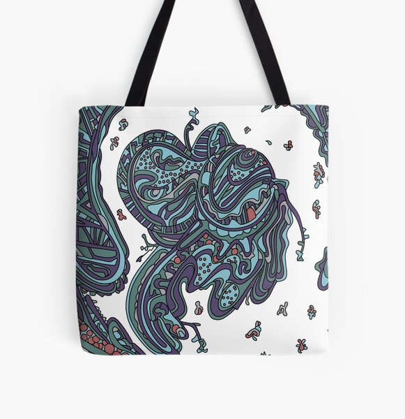 Wandering Abstract Line Art 50: Blue All Over Print Tote Bag