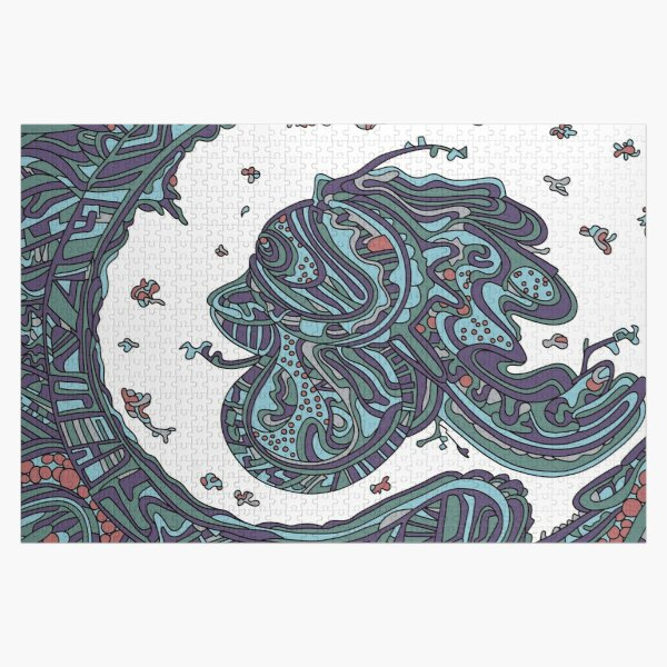 Wandering Abstract Line Art 50: Blue Jigsaw Puzzle