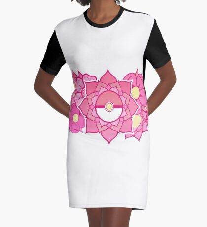Pokeball Flowers Graphic T-Shirt Dress