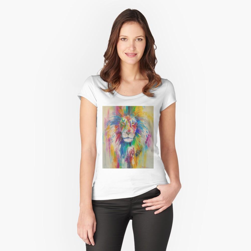 Rainbow lion Tailliertes Rundhals-Shirt