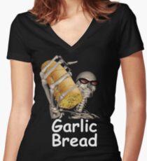 when ur mom com hom n maek hte garlic bread!!!! Women's Fitted V-Neck T-Shirt