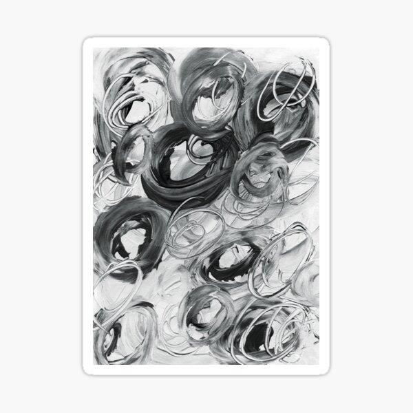 Tourbillon de Cercles noir et blanc, ton de gris Sticker