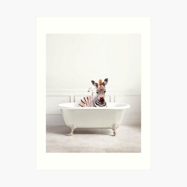 Zebra in a Bathtub, Zebra Taking a Bath, Zebra Bathing, Whimsy Animal Art Print By Synplus Art Print