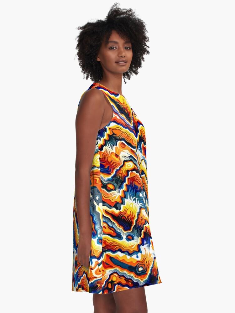 Alternate view of Vibrant Geometric Motif A-Line Dress