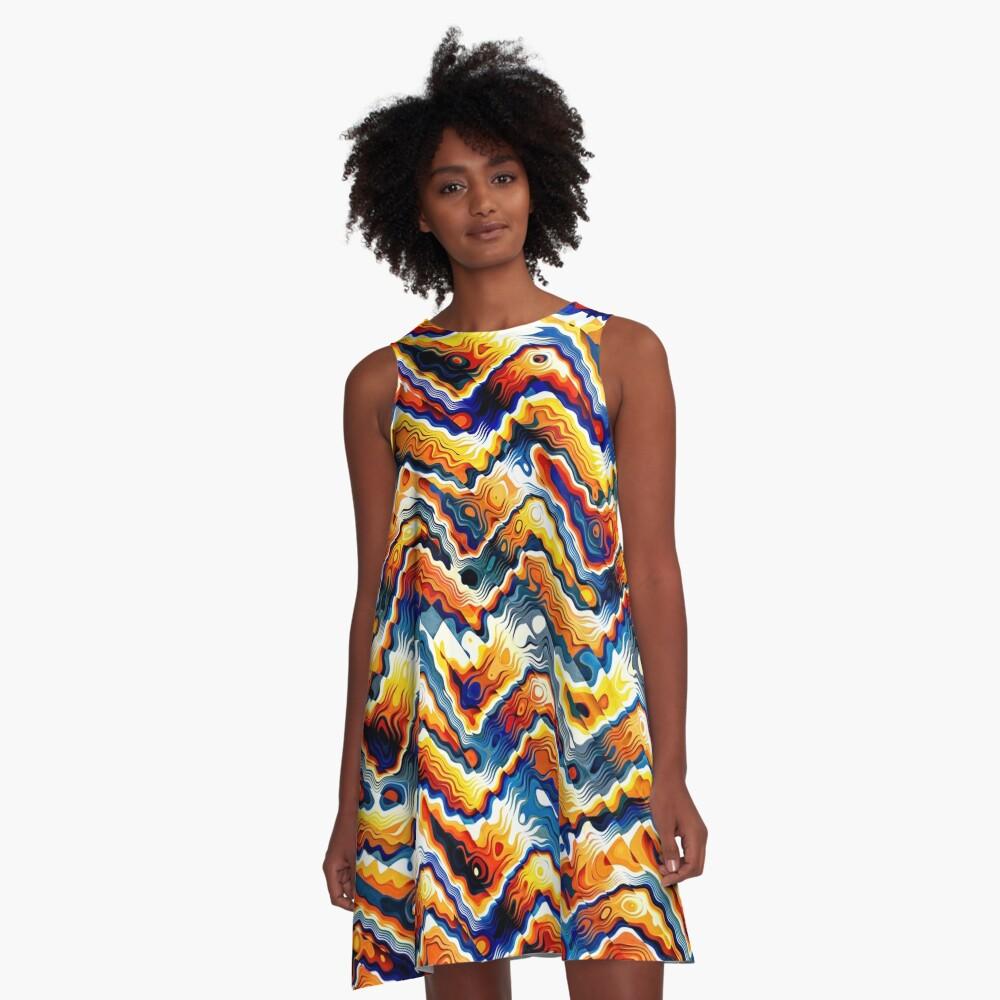 Vibrant Geometric Motif A-Line Dress