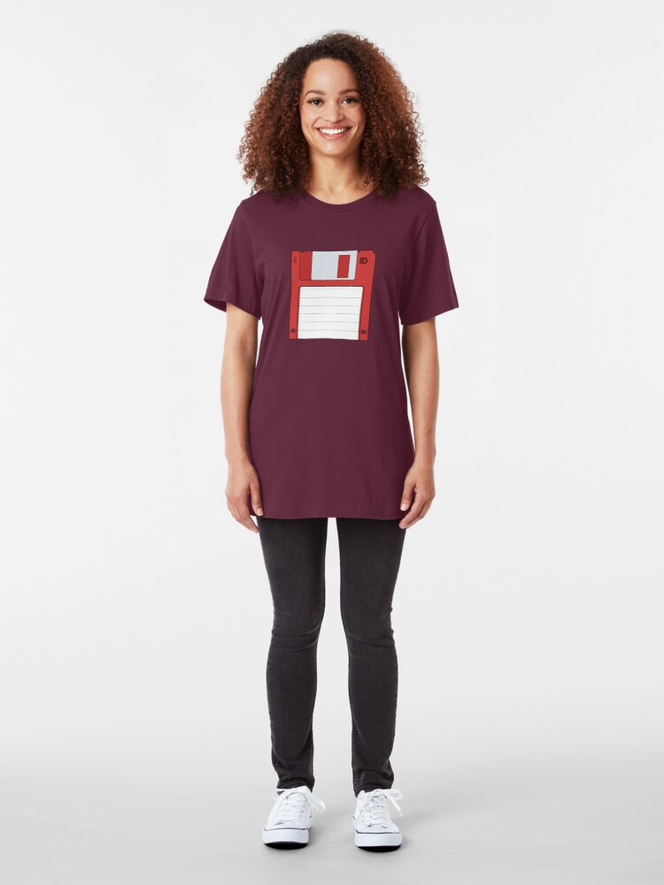 """Alternate view of 3.5"""" HD Floppy Disc (Red)  Slim Fit T-Shirt"""