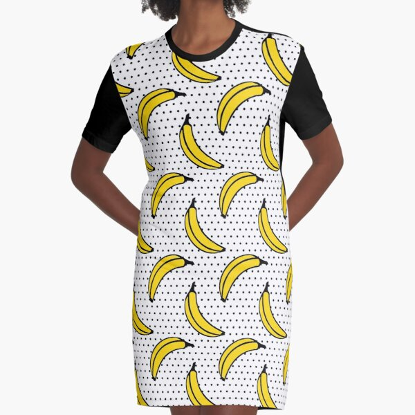 Polka Dot Banana Print Graphic T-Shirt Dress