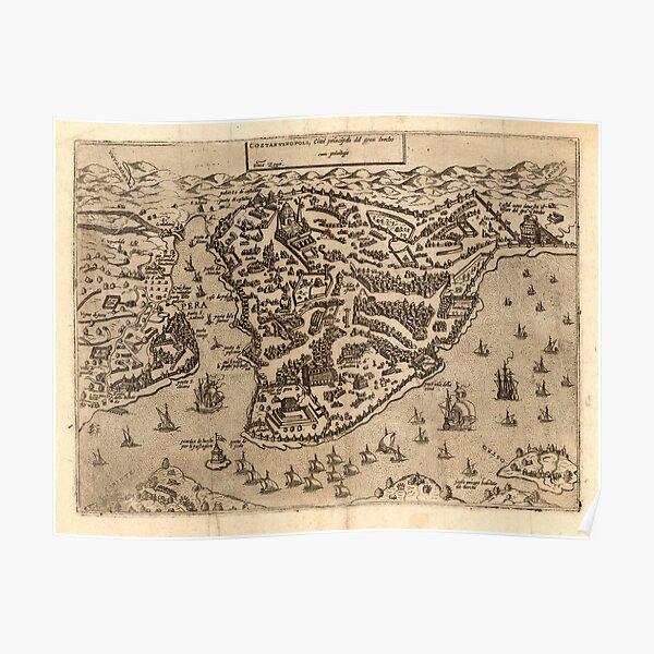 Constantinople City Map, 1572 by Antonio Lafreri Poster