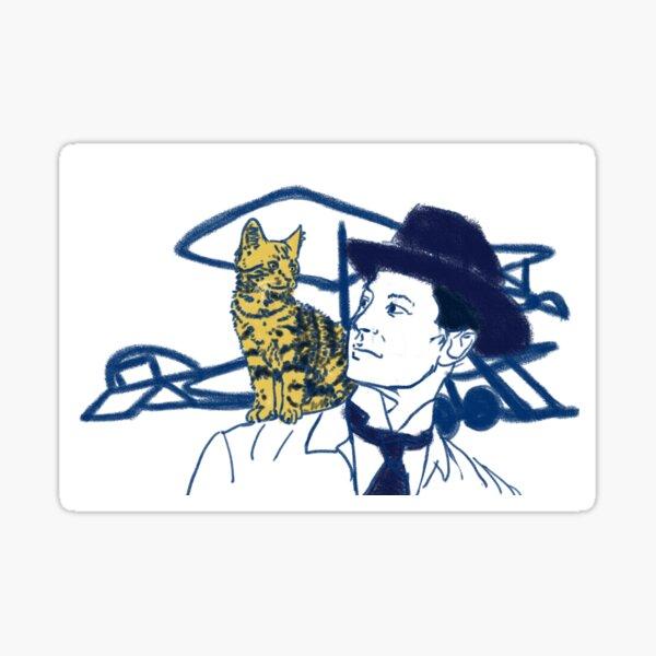 Pilot and Cat Sticker