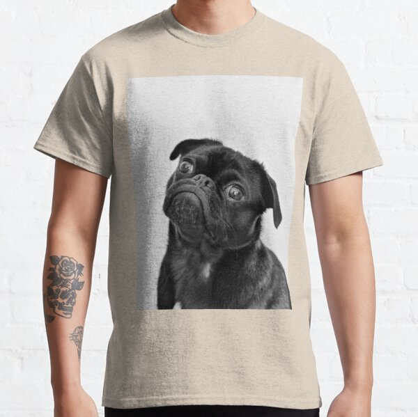 Black pug cute print Classic T-Shirt