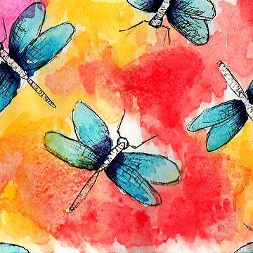 Dragonflies Watercolor by mira-luan-art