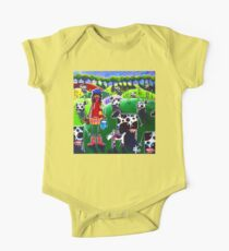 Moo Cow Farm Dog Hills Trees Flowers Milk Milking Dairy Cattle Rancher Girl Cowboy Boots Hat Country  Kids Clothes