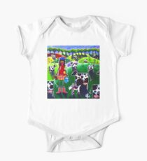 Moo Cow Farm Dog Hills Trees Flowers Milk Milking Dairy Cattle Rancher Girl Cowboy Boots Hat Country  One Piece - Short Sleeve