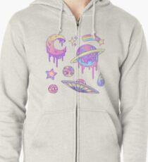 Pastell-Galaxie Hoodie mit Reißverschluss