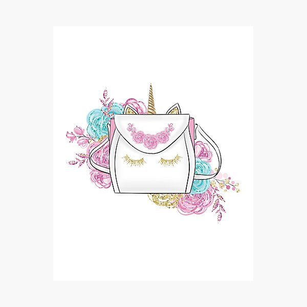 Unicorn fashion bag and flowers illustration Photographic Print