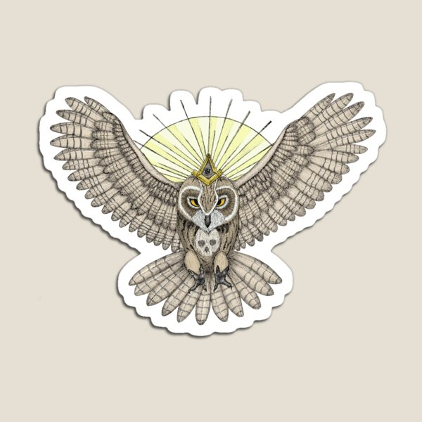 Mason Owl with skull, rule, compass and the eye that sees everything (tattoo style) Magnet