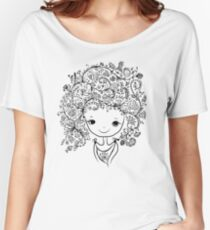 Cute girl with floral hairstyle Women's Relaxed Fit T-Shirt