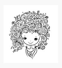 Cute girl with floral hairstyle Photographic Print