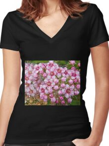 Pink Petal Perfection Women's Fitted V-Neck T-Shirt
