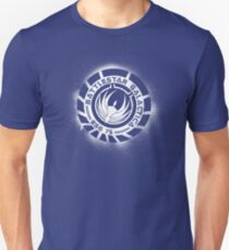 Battlestar Galactica Grunge - Dark Blue and White T-Shirt