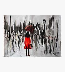 Girl In The Red Raincoat Urban Cityscape Contemporary Acrylic Painting Photographic Print