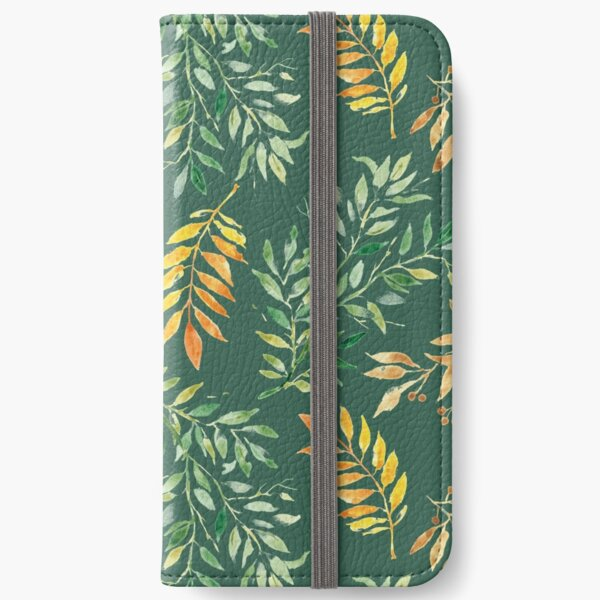 Watercolor leaves on green - pattern iPhone Wallet