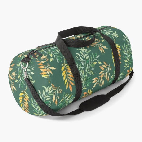 Watercolor leaves on green - pattern Duffle Bag