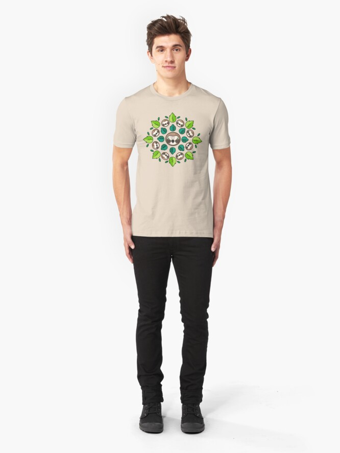 Alternate view of Mandala Sloth Slim Fit T-Shirt