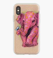 Vinilo o funda para iPhone Elefante rosado (con manchas doradas)