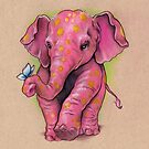 Pink Elephant (with golden spots) by justteejay