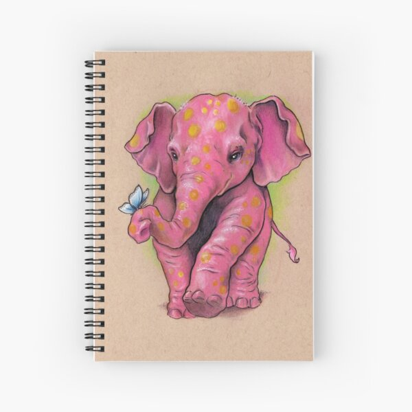 Pink Elephant (with golden spots) Spiral Notebook