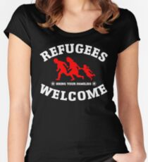 Refugees Welcome Bring Your Families Women's Fitted Scoop T-Shirt
