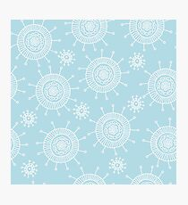 Simple doodle flower blue pattern. Seamless pastel abstract background.  Photographic Print
