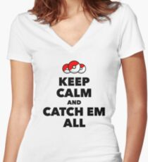 Pokemon GO - Keep Calm And Catch Em All Women's Fitted V-Neck T-Shirt