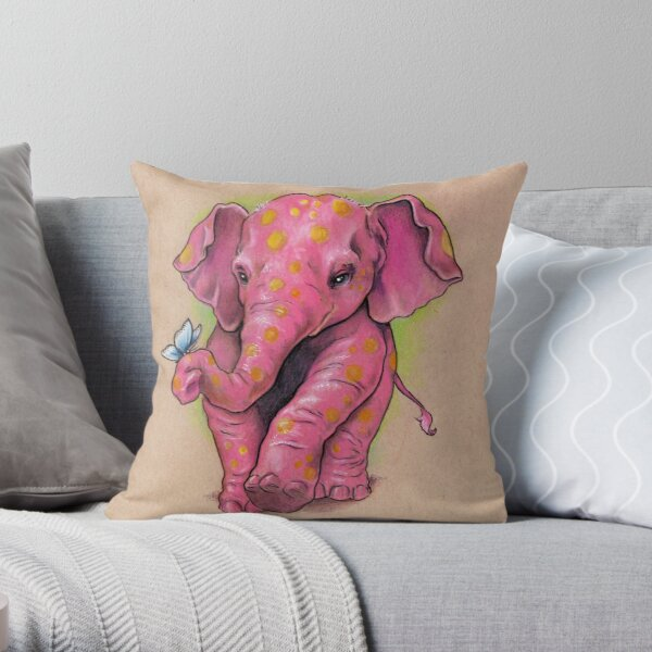 Pink Elephant (with golden spots) Throw Pillow