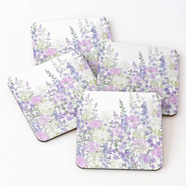 Flower Garden - Allium Eros, Larkspur, Ammi, Cluster Lilies, Catmint Coasters (Set of 4)