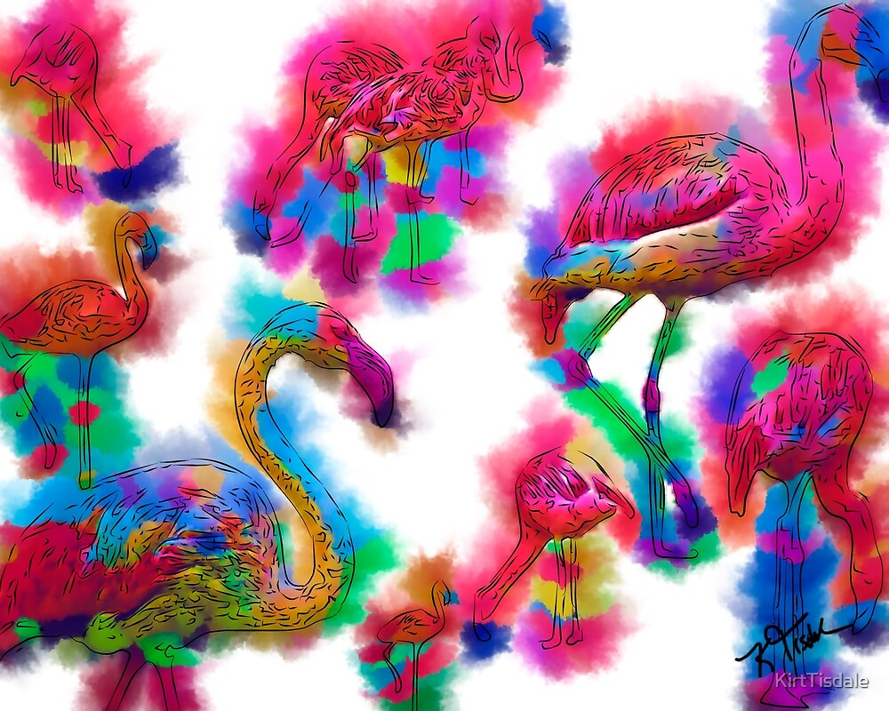 Abstract Flamingo Flock by KirtTisdale