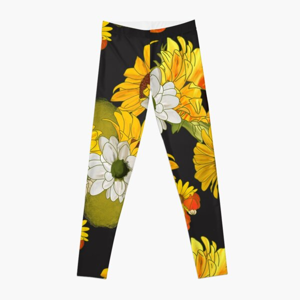 Sunflowers in May Floral Bouquet Leggings