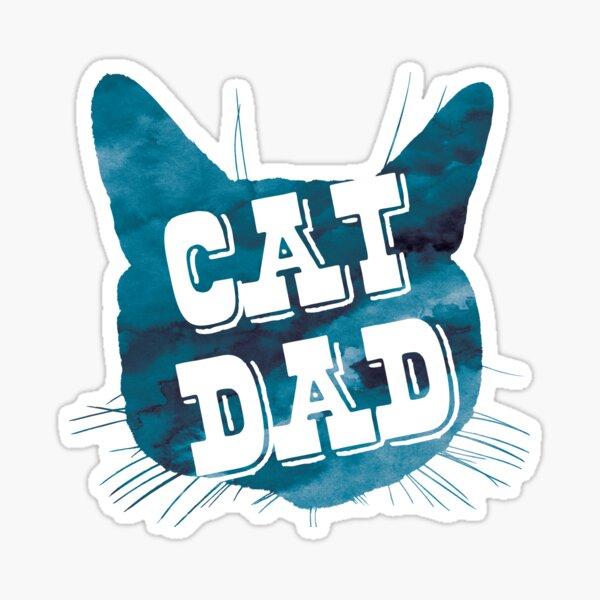 Cat Dad aquarelle bleue Sticker