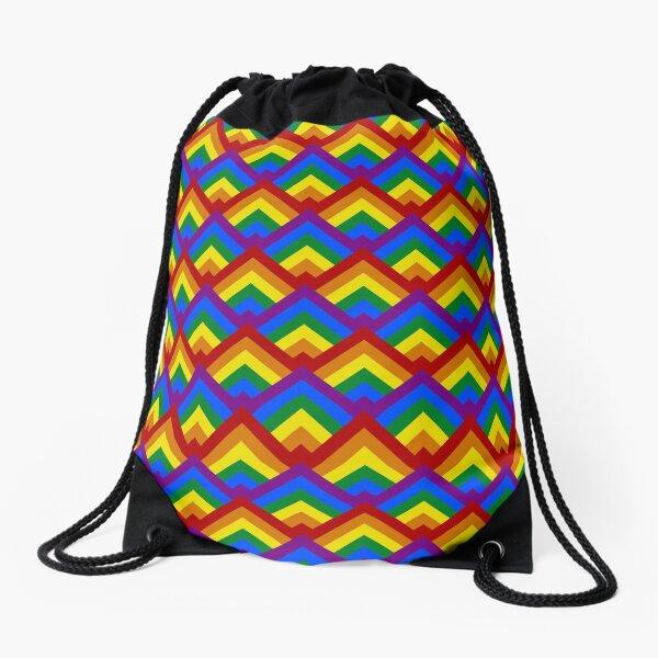 Pride Rainbow Flag Geometric Repeating Pattern Drawstring Bag
