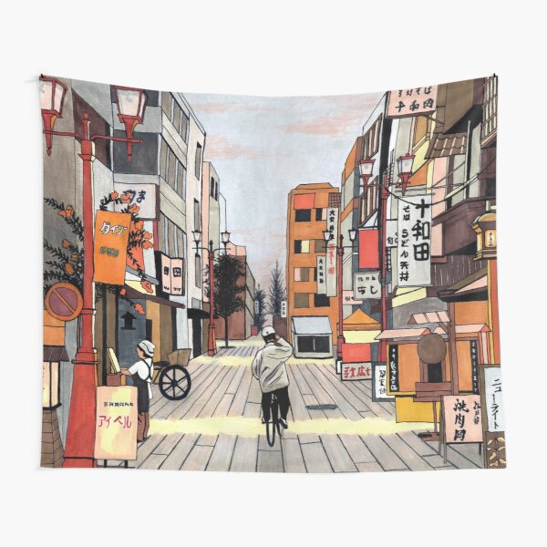 Early Morning Ride in Japan Tapestry