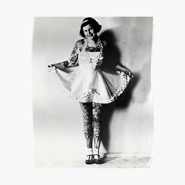 Vintage Tattoo art on body - retro female Poster
