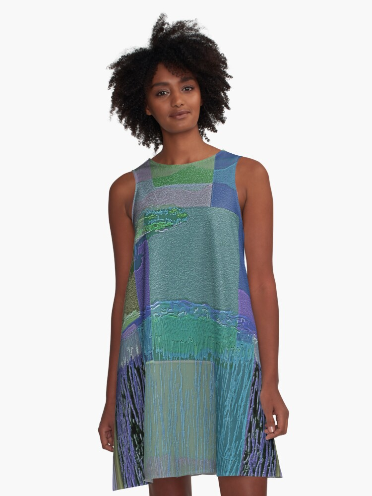BY THE BAY-ABSTRACT A-Line Dress Front