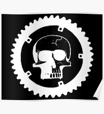 Sprocket Skull- White on Black Poster