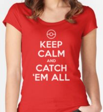 Pokemon Go Trainer Keep calm and catch em all Women's Fitted Scoop T-Shirt