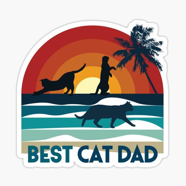 Best Cat Dad, chat sur coucher de soleil à la plage, fond noir Sticker