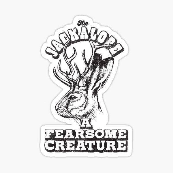 The Jackalope a Fearsome Creature Funny Hunting Jackrabbit, rabbit, Vintage retro Sticker