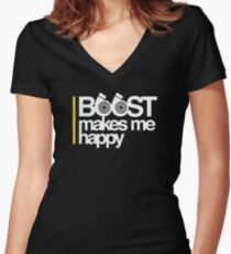 Boost Makes Me Happy Women's Fitted V-Neck T-Shirt