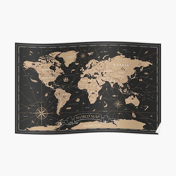 World Map Vintage Black Golden Detailed Poster