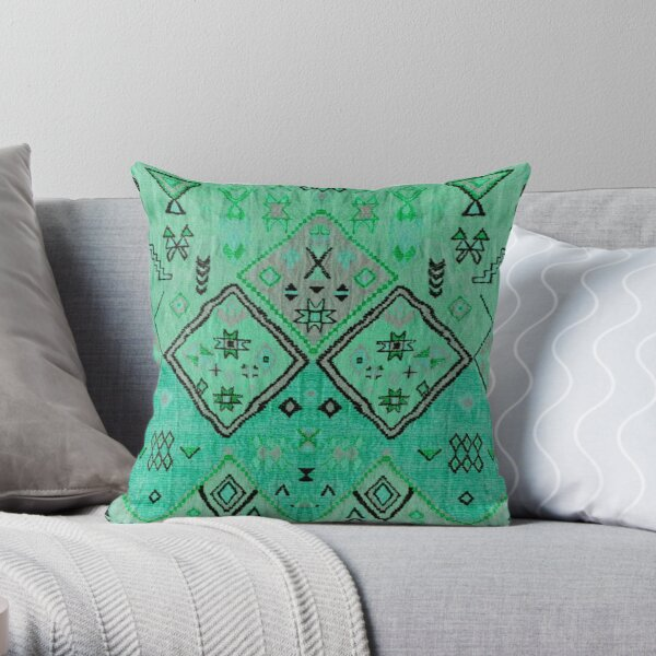 Green Oriental Boho Traditional Moroccan Style Throw Pillow